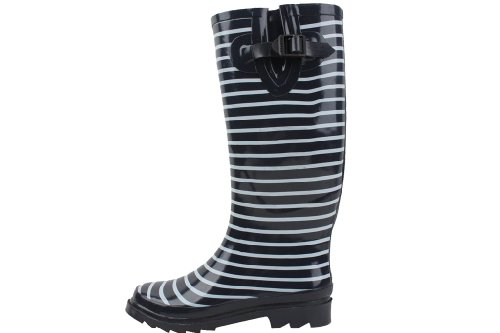 Sunville New Womens Navy Stripe Rubber Rain Boots Size 10