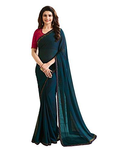 Indian Ethnic Bollywood Saree Party Wear Pakistani Designer Sari Wedding, Saree for Womens (Navy Blue)