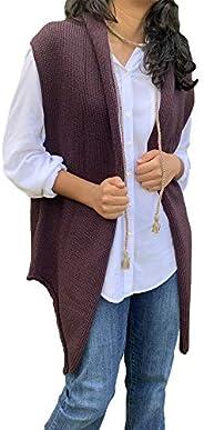 Chaleco uva con cinturón tejido, Two Sisters ®, TALLA MEDIANA mujer. Diseño exclusivo hecho en México