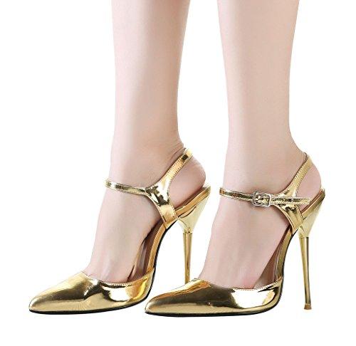 de sandalias tobillo Moda punta oro aguja vestido de correa mujer tacones CAMSSOO Slingback estrecha 4pqSw7