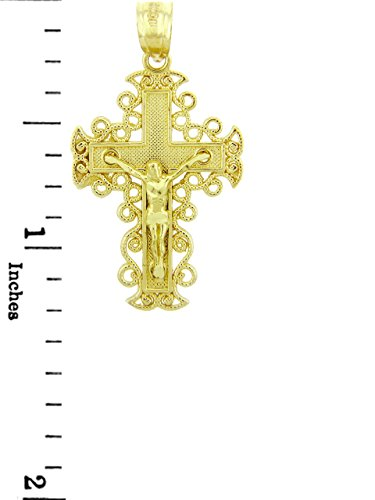 10 ct 471/1000 Or Jaune Crucifix - La Rejoice Crucifix Pendentif Collier (Livre Avec un 45 cm Chaine)