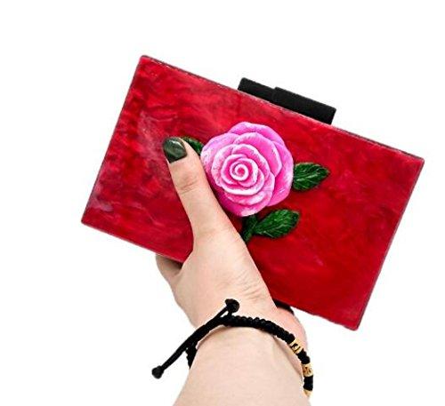 de pour épaule de Rétro le main vent bal mariage bandoulière fleur sac sac national soirée Black sac d'épaule chaîne à paquet à rose de OOAwFqvH
