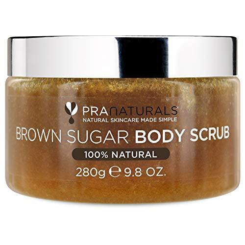 PraNaturals Rohrzucker Body Scrub – Natürlicher exfolierender Body Scrub – Sanfte Entfernung von toten, trockenen Hautzellen – 280g