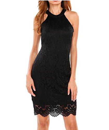Dress Halter Bodice (Lapiness Women's Halter Neck Lace Dress Sleeveless Mini Bodycon Formal Party (Black, X-Large))
