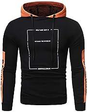 WYTong Men's Long Sleeve Drawstring Pullover Hoodie Sweatshirt Casual Tracksuits Blouse Slim Top(Orange b,L)