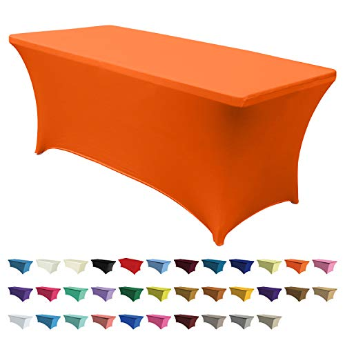 ABCCANOPY 30+ Colors Spandex Table Cover 6 ft. Fitted Polyester Tablecloth Stretch Spandex Tablecover-Table Toppers(Orange) -