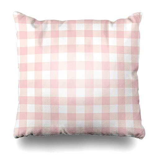 Ahawoso Throw Pillow Cover Square 24x24 Inches Checker Red Pattern Pastel Pink Plaid Gingham Checkered Picnic Abstract Check Cute Color Design Zippered Cushion Pillow Case Home Decor Pillowcase