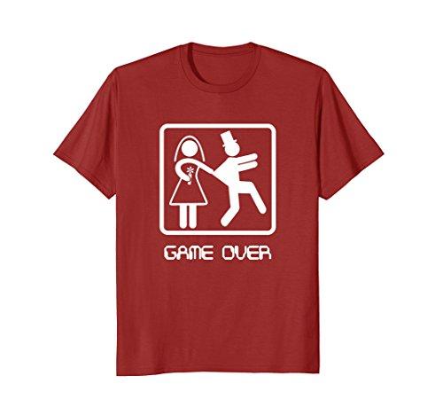 Mens Video gamer shirt - Game Over Wedding Groom Bachelor Shirt Medium Cranberry
