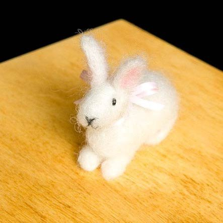 Bunny Wool Needle Felting Craft Kit by WoolPets. Made in the USA.