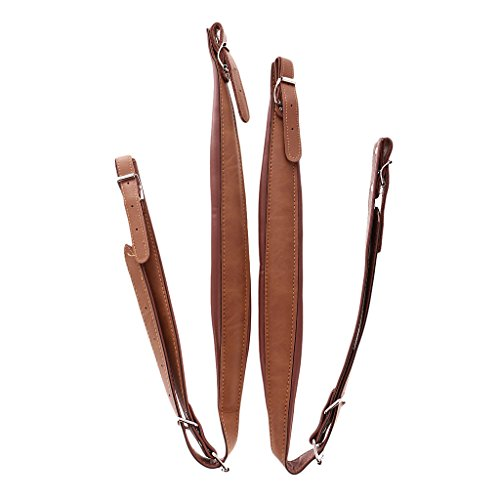 MonkeyJack 2 Pieces Coffee PU Leather Accordion Shoulder Strap Musical Instrument Accessories