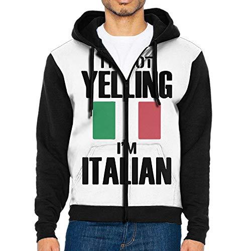 I'm Not Yelling I'm Italian Men's Custom Full-Zip Hoodie with Pocket Sweatshirts Jackets