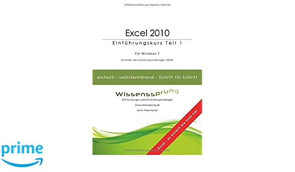 excel 2010 schulungsunterlagen