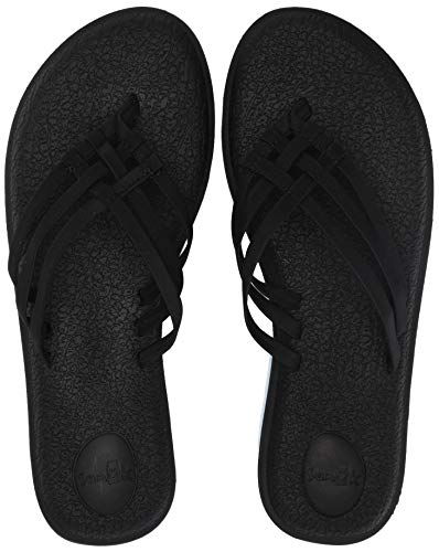 Sanuk Women's Yoga Salty Flip-Flop, Black, 08 M US (Best Shoes For Pregnant Women)