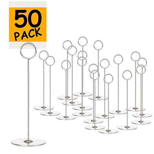 Set of 50 Place Card Holders - 8' Table Number Holder Stand to Hold Photo Numbers Reserved Sign Recipe Note for Wedding Party Restaurant Menu Banquet or Pictures Heavy Base Tabletop Cardholder(Silver)