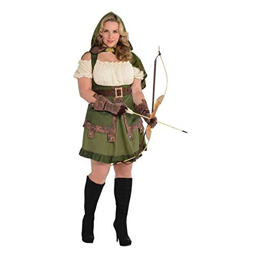 AMSCAN Lady Robin Hood Halloween Costume for Women, Extra Large, with Included -