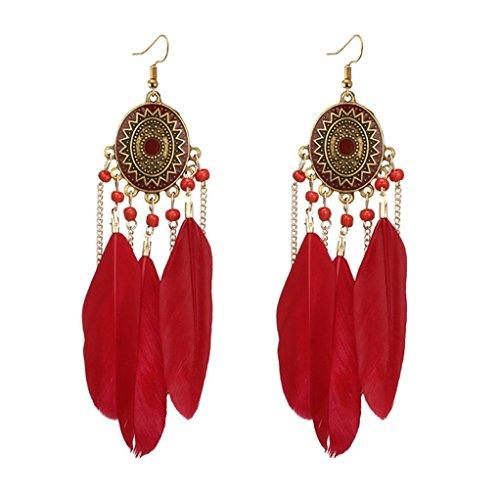 Beuu Trend women Long feather earrings Dream catcher Earrings Ear hook Boho style (Red)]()