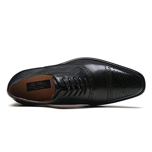La Milano Heren Geniune Lederen Cap Teen Lace Up Vleugeltip Klassiek Modern Business Casual Kleding Schoen Arcno-1-zwart