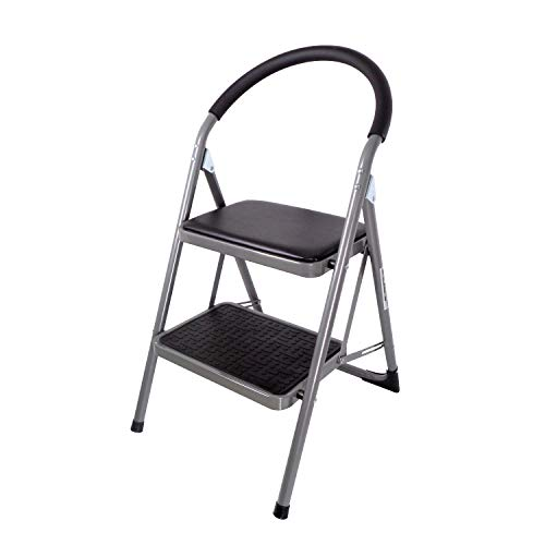 Duwee 2 Step Ladders Folding Step Stool with Hand Grip,Soft Pad for Seating,Unique Locking Design,Anti-Slip Sturdy and Wide Pedal,Multi-Functional Indoor Outdoor Steel Ladder&Chair(Black&Silver) (Seating Unique)