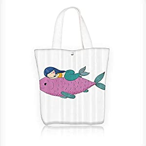 Canvas Tote Bag Mermaid Sleeping Top Giant Fish Friends Kids Nursery Theme Zipper Closure Grocery Shopping Bag Shoulder Bag for Women Girls Students W16.5xH14xD7 INCH