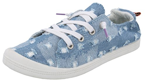 (Rampage Women's Grateful Comfortable Slip On Sneaker Shoe with No-Tie Laces and Cute Design 9 Patchwork Denim)