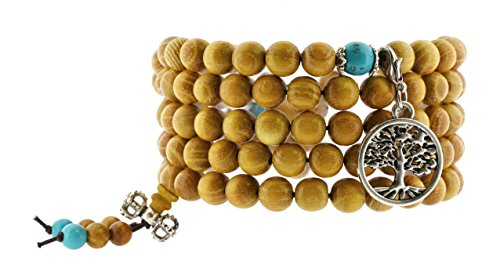 Handmade Tibetan Zen Elastic String 8mm Wood Imitation Turquoise 108 Prayer Beads Yoga Meditation Wrap Bracelet Mala with Removable Charms (Silver Tone Tree of Life)