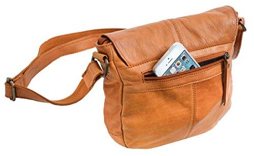 Retro Partytasche Cognac Frauen studio 48 Gusti Ledertasche 5 Damentasche Handtasche Leder Candice 2H82 Rindsleder wzARq