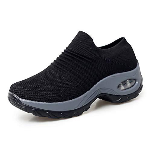 Netursho Slip On Breathable Mesh Hiking Shoes No-Slip Waking Shoes Stock Sneakers for Women Comfort Wedge Platform Loafers Black