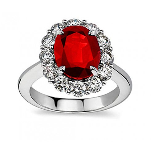 Madina Jewelry 7.09 ct Oval Shape Ruby and Diamond Anniversary Ring in Platinum in Size 10