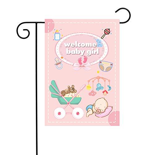 Chien-Min666 Welcome Baby Girl Garden Flags Gender Reveal