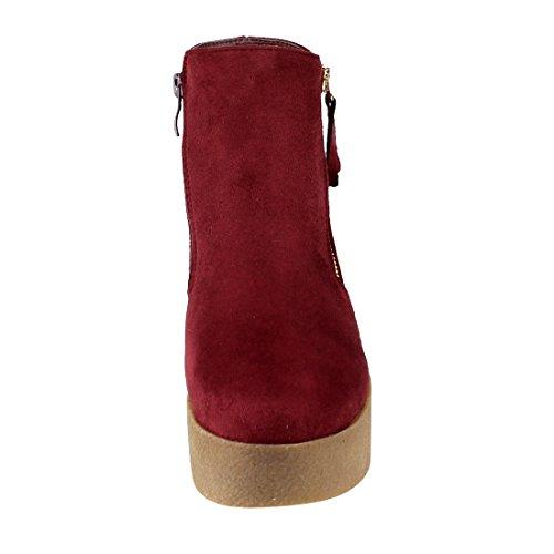 Beston EJ24 Womens Fashion Casual Side Zipper Platform Wedge Ankle Booties Wine J4RE1j7T