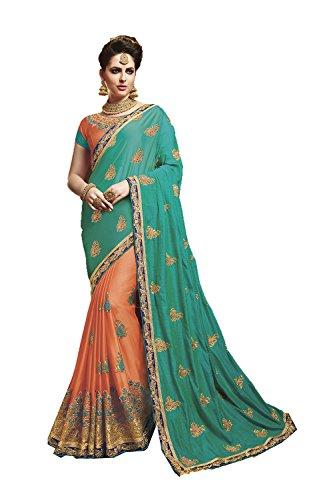Indianfashion Store Indian Sarees For Women Wedding Designer Party Wear Orange,Green Traditional Sari by Indianfashion Store