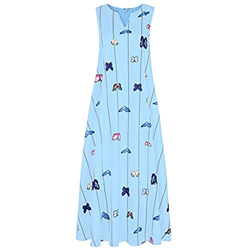 Women's Deep V Neck Long Dress Plus Size Casual Sleeveless Maxi Dress Women's Butterfly Printed Party Dresses Blue