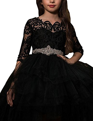 3/4 length sleeve flower girl dresses - 9