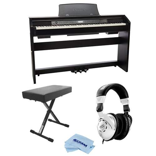 Casio PX-780 Privia 88-Key Digital Console Piano with 250 Tones, Black - Bundle With Behringer HPS3000 High-Performance Studio Headphones, On-Stage Deluxe X-Style Keyboard Bench, Fiber Cloth by Casio