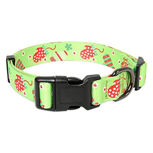 collar para perro ajustable con broche metal verde talle s
