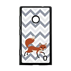 Adorable Cleverness Small Fox Walking Leisurely Blue White Purple Chevron Nokia Lumia 520 Case Cover Shell (Laser Technology)