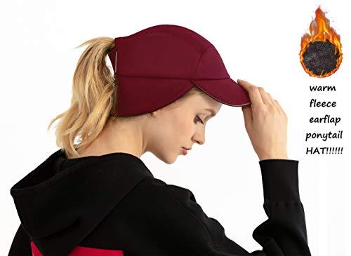 Womens Messy Bun Ponytail Winter Fleece Earflap Hat|Windproof Warmer Cap for Running Ski Gear Baseball Accessories