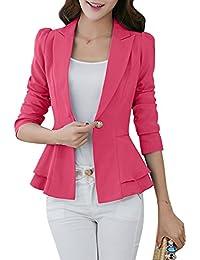 YMING Women's Slim Fit Blazer Lotus Leaf Hem Casual Tunic Office Blazer