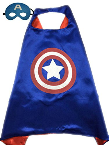 [Superhero or Princess CAPE & MASK SET Kids Childrens Halloween Costume (Blue & Red (Captain] (Captain America Boys Costumes)
