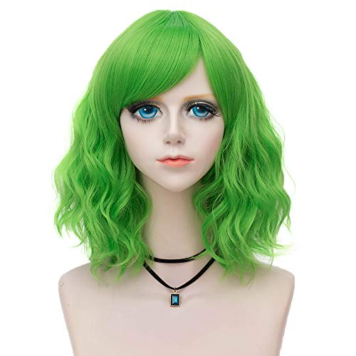 (Amback Probeauty Prime Collection Lolita 40CM Green Short Curly Women Lolita Anime Cosplay Wig + Wig Cap (Side Bang))