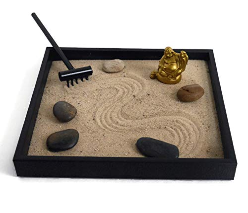 andmade Zen Garden Desktop Relaxation Gifts for Office Decor - Buddha Decor Meditation Tools for Desk ()