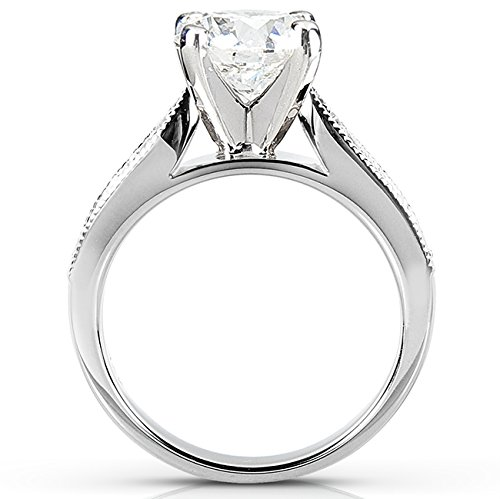 Forever One (D F) Moissanite Bridal Set with Diamond 2 1/5 CTW 14k White Gold