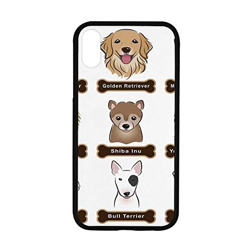 Dog Lover Decor Rubber Phone Case,Various Type of Dogs Nameplate Boston Terrier Domestic Animal Faithful Loyal Compatible with iPhone XR Boston Terrier Dog Custom Photo