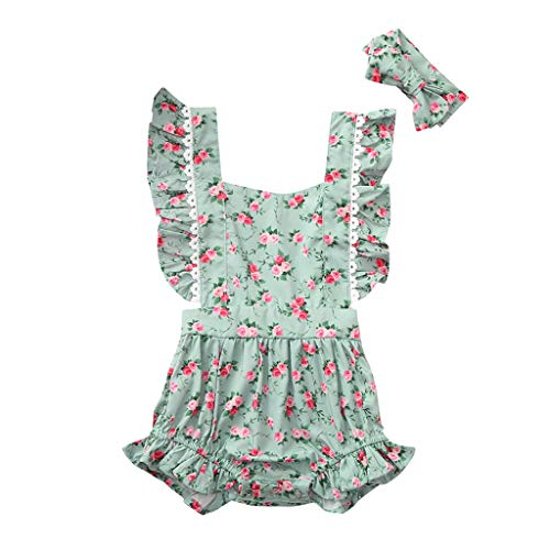 WOCACHI Infant Baby Sister Girls Sleeveless Ruffle Floral Print Backless Romper Bodysuit Back to School Father's Day Children's Day July 4th Pregnant Woman Love You 3000 Times -