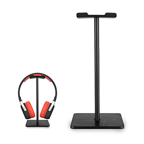 ElementDigital Headpone Stand Headset Holder Earphone Stand Holder Hanger with Aluminum Supporting Bar Flexible Headrest ABS Solid Base for Gaming Headset Headphones (Black)