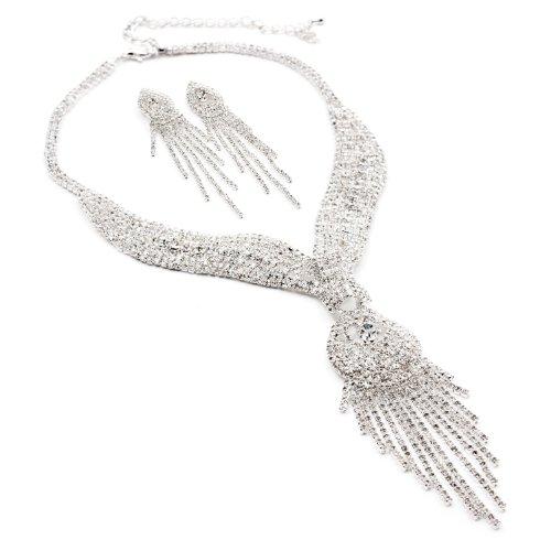 Silver Crystal Rhinestone 7 Strands Drop Dangle Earrings & Scarf Tie Shape with Multiple Rhinestone Strands Long Tassel Drop Necklace Jewelry Set (Long Rhinestone Necklace)