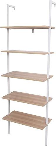 Kcelarec Industrial 5-Shelf Ladder Bookcase Bookshelf