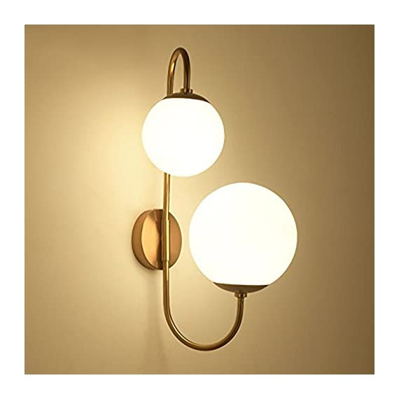 """KunMai Modern Chic Milky White Glass Globe Two-Light Indoor Wall Lamp in Aged Brass for Bedroom Bathroom Hallway - Milky white globes accented by the sleek scroll arm give a fancy modern update to any home decor. White glass and durable metal in aged brass complement each other and enhance the modern sleek look.The arm cannot swivel. Dimension of Light Fixture: 11.8""""D x 22.4""""H (300mmD x 570mmH) - bathroom-lights, bathroom-fixtures-hardware, bathroom - 41FemYmPi4L. SS570  -"""