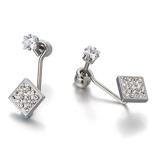 Stainless Steel Earrings Jacket Zirconia