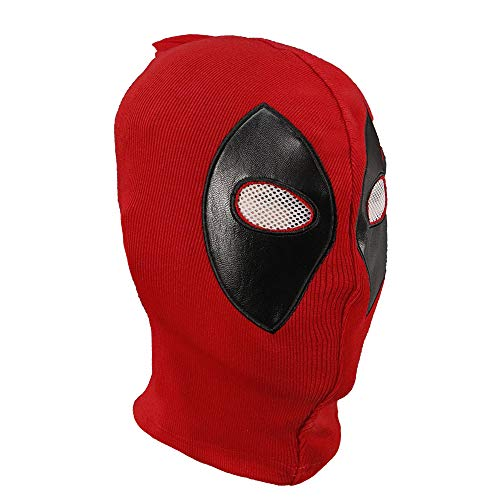 Unisex Deadpool Hood Cotton Spandex Leather Mask Full Head Fabric Flexible Helmet Costume Accessory for Kids and Adult]()